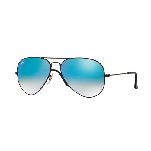 Ray-Ban RB3025 Aviator Sunglasses - Shiny Black / Mirror Gradient Blue 67R-G65-RB3025002/4O