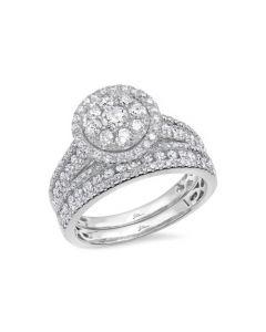14k White Gold 1.46 ct Diamond Wedding Set
