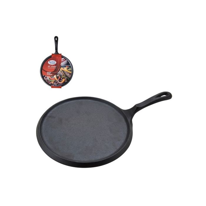 "Alpine Cuisine CICP10 10"" Cast Iron Comal Grill Pan - Black"