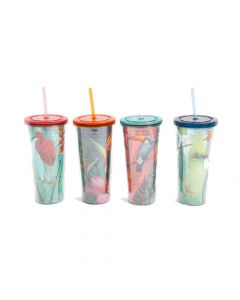 Gibson Home Tropical Bird 4 Piece 23.6 Ounce Double Wall Tumbler Set with Straw Assorted Designs