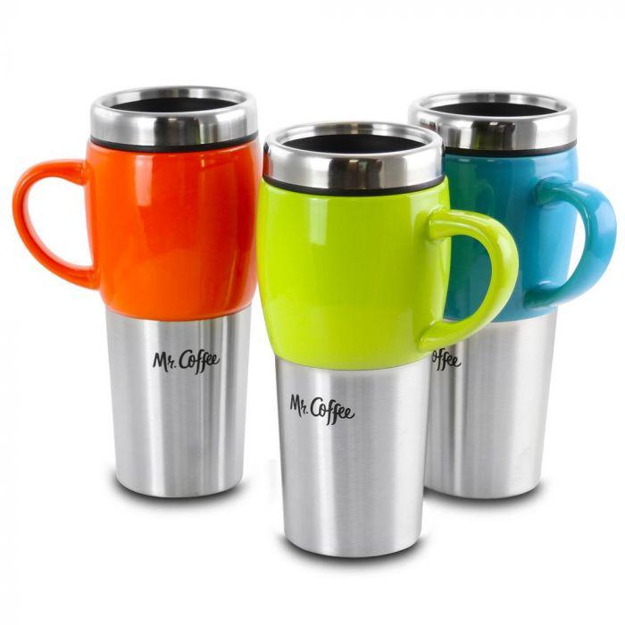 Mr. Coffee Traverse 16oz Stainless Steel Travel Mug Assortment