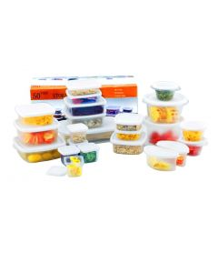 50 Piece Plastic Food Containers with Lids