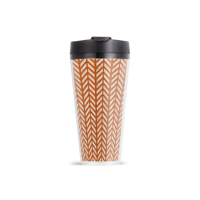 ThermoServ 16oz Double Wall Herringbone Acrylic Coffee Tumbler With Flip-Top Lid - Tangerine