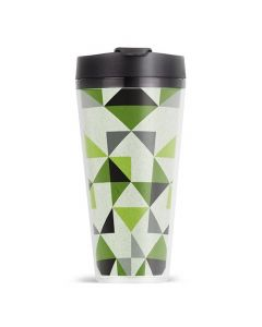 ThermoServ 16oz Double Wall Geo Acrylic Coffee Tumbler With Flip-Top Lid - Green Apple