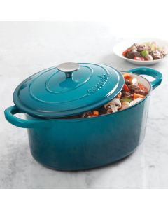 Artisan 7Qt Eci Dutch Oven With Lid Teal Ombre Oval Enameled