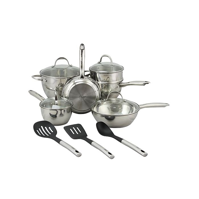 Oster 109543.13 Ridgewell Stainless Steel 13-Piece Cookware Set - Silver