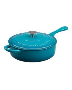Artisan 3.5Qt Eci Deep Saut Pan With Lid Teal Ombre Round