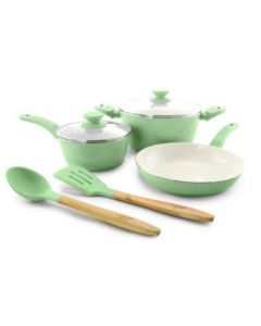 Gibson Plaza Cafe 7 Piece Cookware Set - Mint