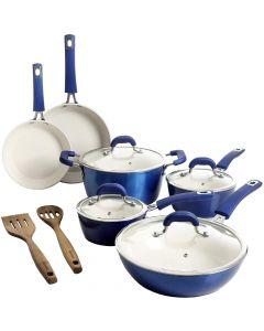 Kenmore Arlington Nonstick Ceramic Aluminum Cookware Metallic Blue