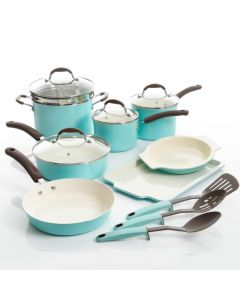 Oster 93041.15 Carrick 15 Piece Cookware Set with Lids - Mint