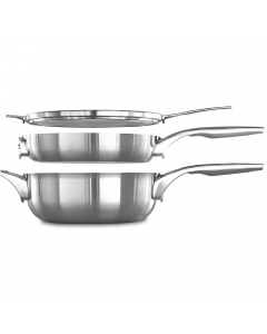 Calphalon Premier Space Saving 3 Piece Cookware Set - Stainless Steel