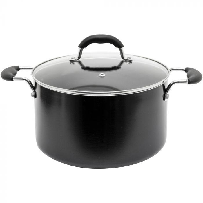 Starfrit Jumbo Nonstick 8 qt. Aluminum Covered Stock Pot - Dark Grey