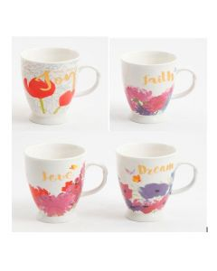 Gibson Home Bold Floral 17.4 Oz Cup 4 Assorted Designs