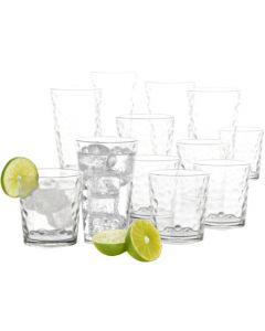 Gibson 91850.16 Great Foundations 16-Piece Bubble Glass Tumbler Set