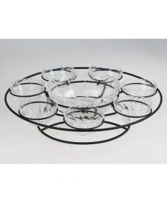 Glass Plate With Black Metal Stand