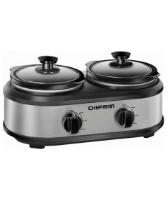 Chefman RJ15/125/D 2.5-Quart Double Slow Cooker - Stainless Steel/Black