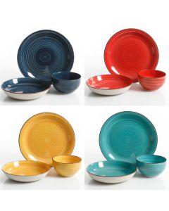 Color Speckle 12Pc Mix & Match Double Bowl Dinnerware Set - Assorted