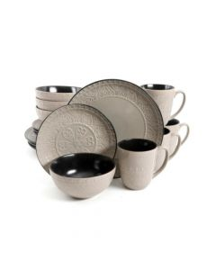 Gibson Milanto 16 Piece Grey Dinnerware Set