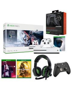 Microsoft Xbox One Bundle: Console + DreamGEAR Wired Headset + DreamGEAR Wired Headset + Quickshot Custom Trigger Grips + 2 Games