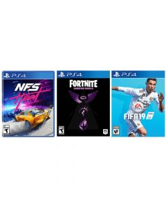 Playstation 4 Bundle: Need for Speed Heat + Fortnite Darkfire Bundle + FIFA 19