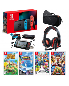 Nintendo Switch Bundle: Console + Nintendo Switch + Gaming Headset + Travel Case + 4 Games