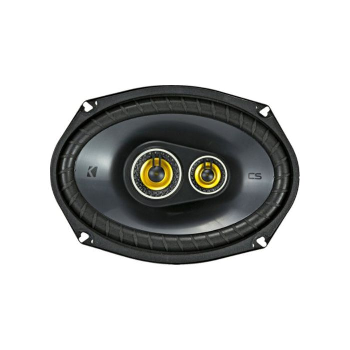 "Kicker 46CSC6934 6""x9"" 3-Way Car Speakers with Polypropylene Cones Pair - Yellow/Black"