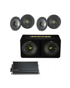 Kicker Bundle: Kicker Car Audio Speaker + Car Audio Speaker + Sub 1200W Amplifier