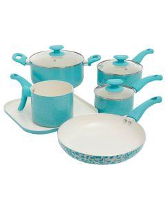 Oster 11206909 Cocina San Jacinto 9 Piece Non-Stick Cookware Set - Turquoise