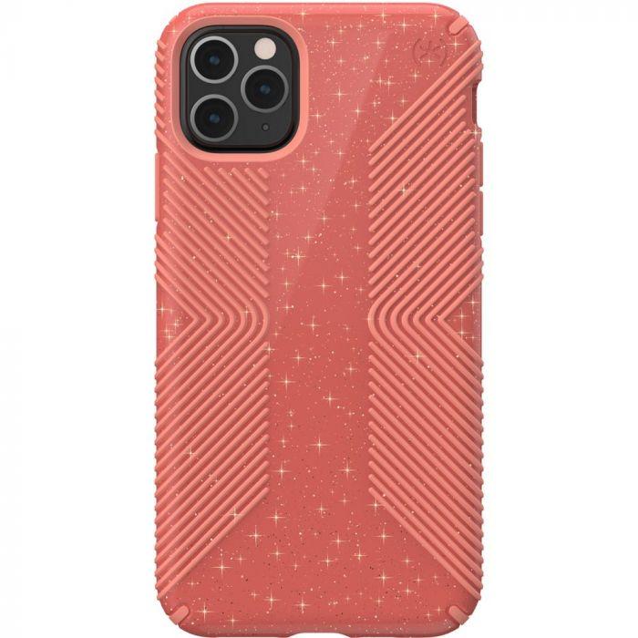 Speck Presidio Grip + Glitter Case for iPhone 11 Pro Max - Lilypink Glitter/Papaya Pink