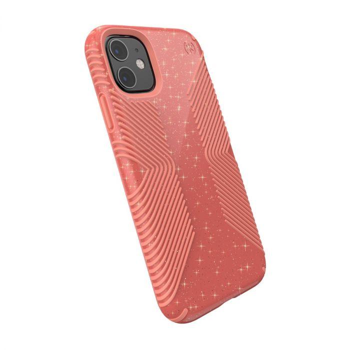 Speck Presidio Grip Glitter Case for iPhone 11 - Lilypink Glitter / Papaya Pink