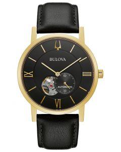 Bulova Men's Automatic Clipper Black Leather Strap Watch 42mm