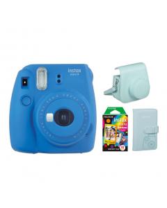Mom Bundle: Fujifilm Instant Film Camera Cobalt Blue + Wallet Album + Camera Case + Instant Film