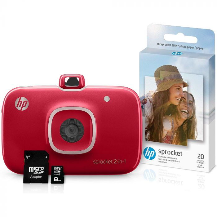 HP Sprocket 2-in-1 Portable Photo Printer & Instant Camera Bundle - Red