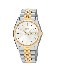 Seiko Men's Silver-Gold Round Dail Stainless Steel Watch - Two-Tone