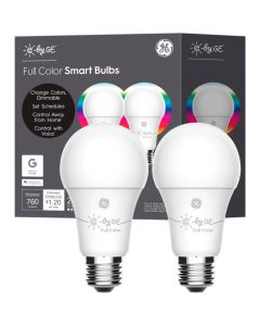 GE C A19 Bluetooth Smart LED Light Bulb (2-Pack) - Multicolor