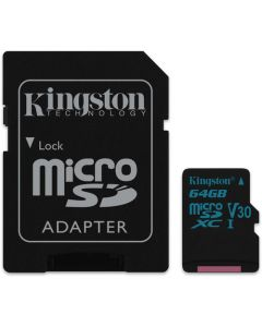 Kingston Technology 64GB Canvas Go! UHS-I microSDXC Memory Card with SD Adapter