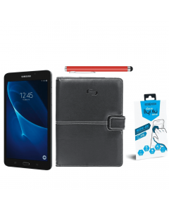Samsung Tablet Bundle: Samsung SM/T280NZKAX Galaxy Tab A + Solo Summit Universal 5.5 To 8.5-inch Tablet Case + Gadget Guard Black Ice Liquid Screen Protector +Belkin Universal Tablet Stylus - Red