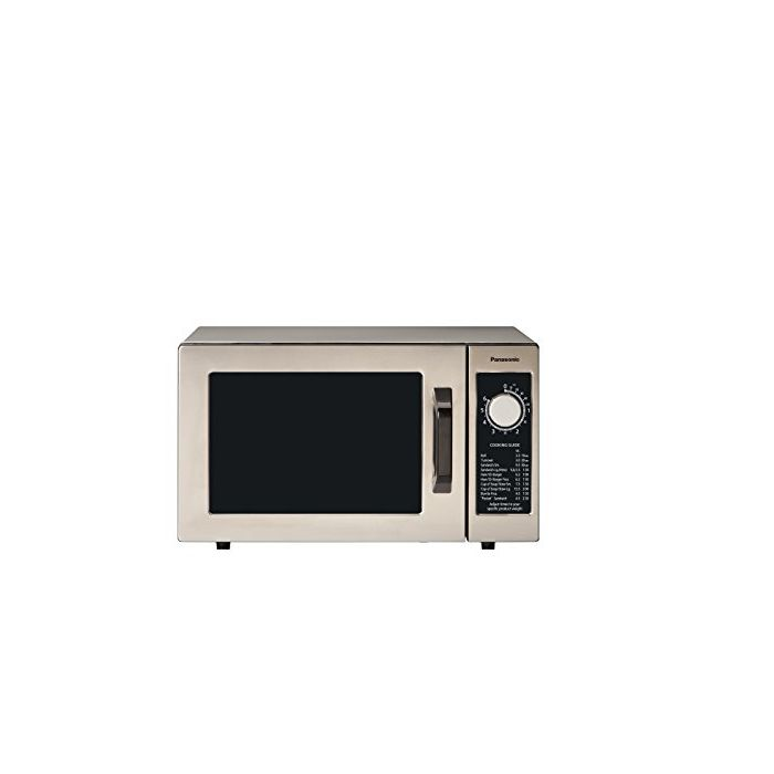 Panasonic Ne-1025F Compact Light-Duty Countertop Commercial Microwave Oven With 6-Minute Electronic Dial Control Timer - Bottom Energy Feed - 1000W - 0.8 Cu. Ft. Capacity Silver