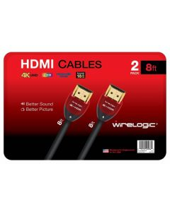 WireLogic Ruby 8' 4K 2-Pack HDMI Cable - Black