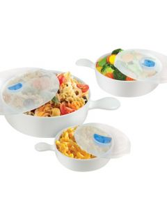 Handy Gourmet 6-Piece Microwave Cookware Set - Clear/White/Blue