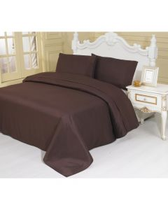 4PC Queen Set Brown Linen Sheets