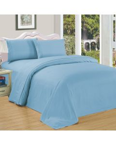 4PC Queen Set Light Blue Linen Sheets