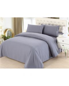 4PC Queen Set Light Grey Linen Sheets