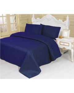 4PC Queen Set Navy Linen Sheets