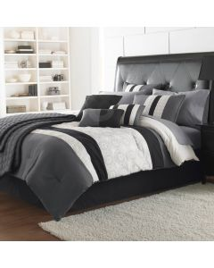 Elsie 7 Pc Comforter Set Polyester King - Black/Gray