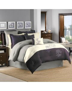 Murell 7 Piece Polyester King Comforter Set - Plum