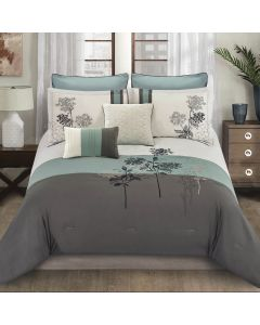 Emilie Comforter Set Polyester King- Grey/Blue/Ivory