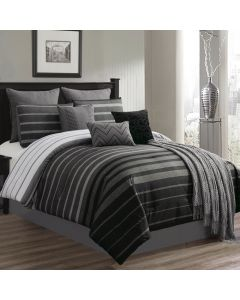 Barkley Comforter Set 10 Piece Queen Size - Black & Gray