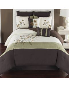 Catie Comforter Set 8 Piece Queen - Green/Espresso