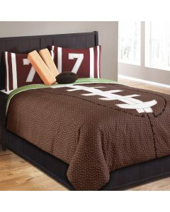 Field Goal Comforter Set Polyester Full- Brown/Green